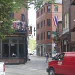 Colonial street in Boston
